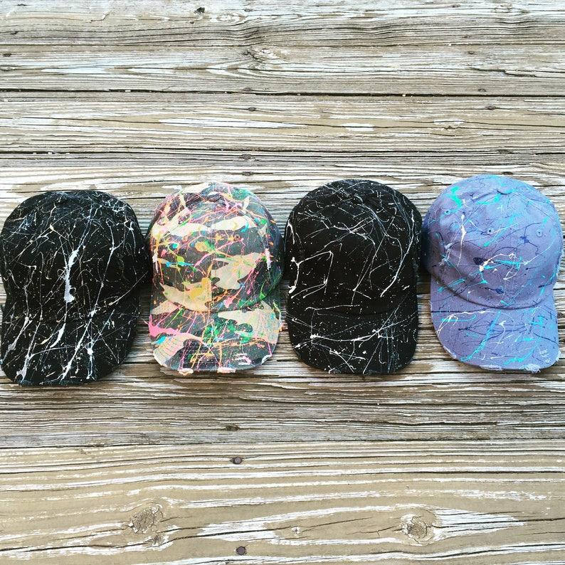 Splatter Paint Distressed Baseball Hats image 0