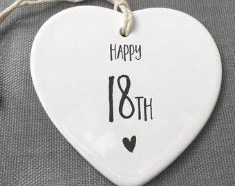 18th Birthday ornament. 18th keepsake, 18th ceramic, 18th Birthday
