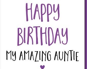 Birthday Card Female Funny Auntie 'Happy Birthday Amazing Auntie' Auntie Card