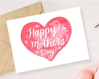 Mother's Day Card - Printable Mother's Day Card - Happy Mothers Day - Card For Mom - Mothers Printable - Watercolor Card - Instant Download