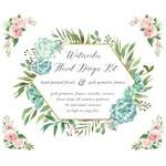 Watercolor Rose Clipart Set - Watercolor Flower Clipart - Watercolor Floral Wreath Clipart - Gold Geometric Frame - Succulent - Gold Foil