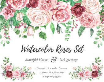 watercolor roses etsy
