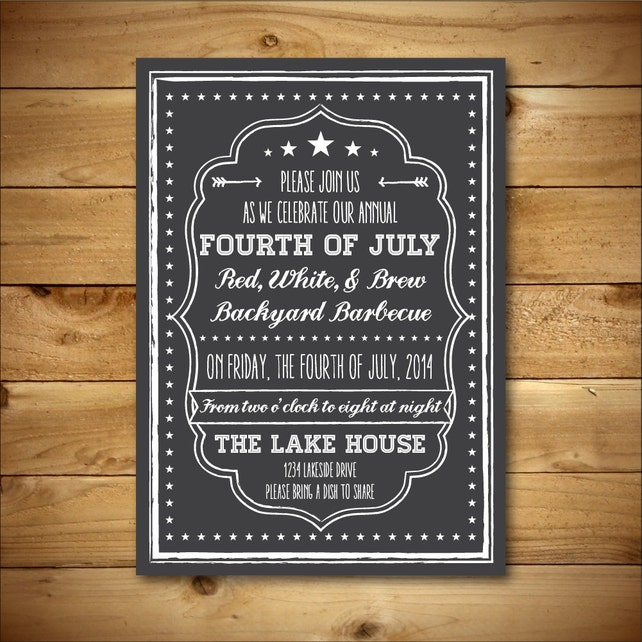 Printable Fourth of July Invitation Template - July 4th Chalkboard Style - Dark Grey, and White - Instant Download - Editable MS Word Doc