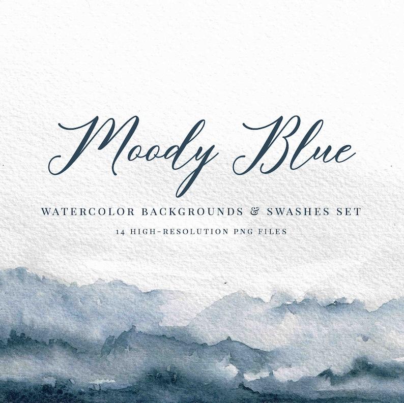Moody Blue Watercolor Backgrounds Set Watercolor Clipart Watercolor Texture Watercolor Splotch Watercolor Logo Watercolor Elements