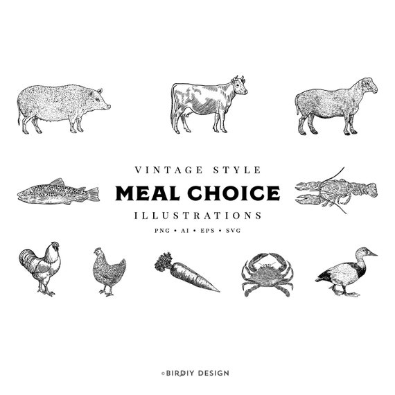Digital Meal Choice Icons for Your Special Event Wedding Meal Choice Icons Lobster Beef Fish Chicken Crab Pork and Vegetarian Icons