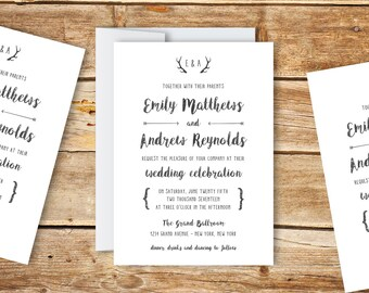 Wedding Invitation Template - Printable Wedding Invitation - Editable Wedding Template - Instant Download - Antler Collection