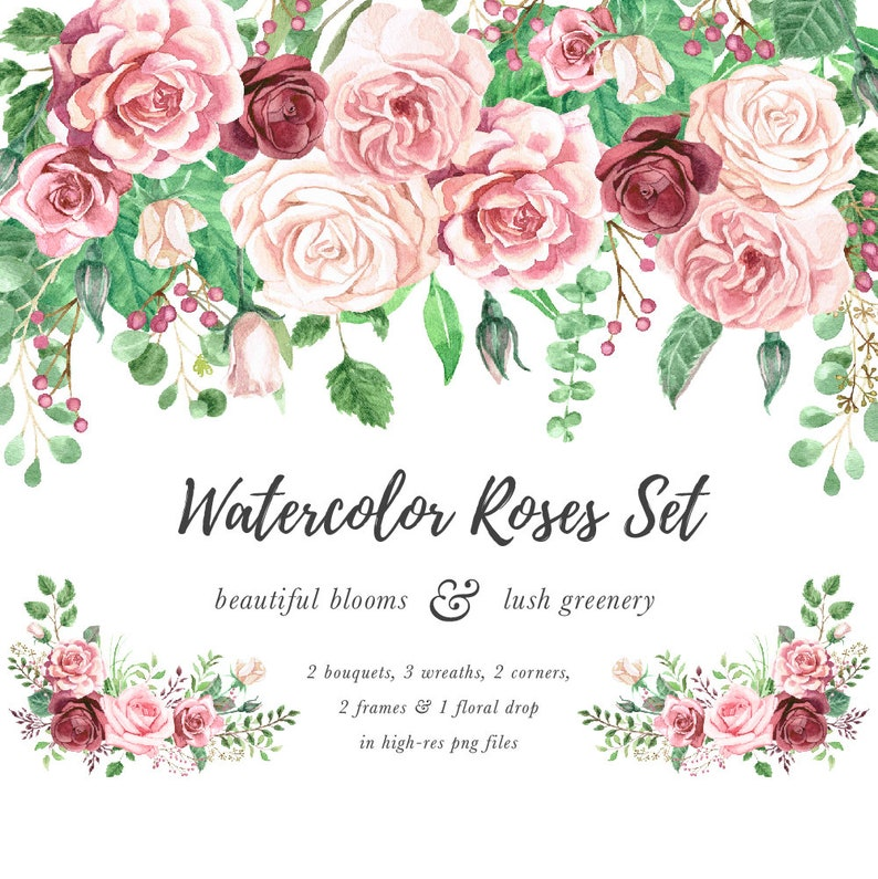Watercolor Rose Clipart Marsala Rose Watercolor Floral Etsy