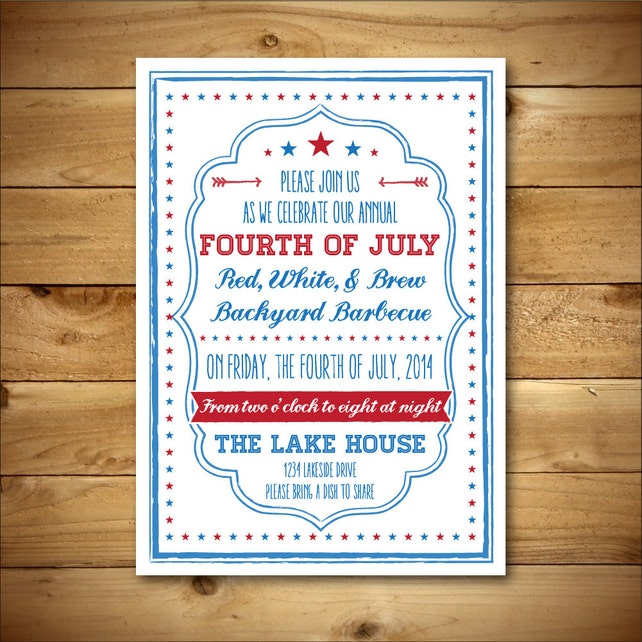 Printable Fourth of July Invitation Template - July 4th Vintage Style Invite - Red, White and Blue - Instant Download - Editable MS Word Doc