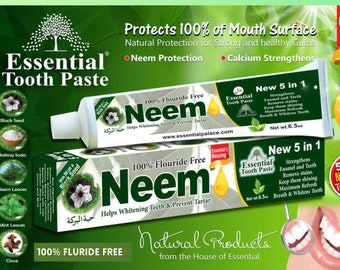 5 in 1 NEEM Toothpaste, Natural Ingredients  100% Fluoride Free & Vegetable Base by Essential Palace