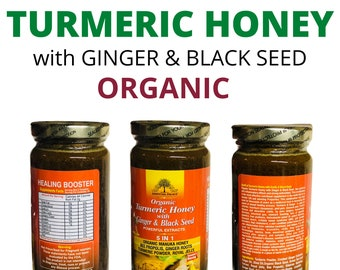 TURMERIC HONEY With Ginger & Black Seed By Essential Palace , Great for Cough Flu Fever