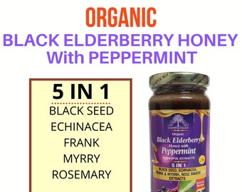 Black Elderberry HONEY With PEPPERMINT, Black Seed By Essential Palace 5 IN 1 Miraculous Healing Power .