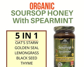 SOURSOP HONEY With Spearmint By Essential Palace Organic 5 IN 1 Miraculous Healing Power.