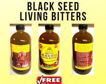 Organic Black Seed Living Bitters, Miraculous Detox herbal Tonic, 8 oz or 16 oz.
