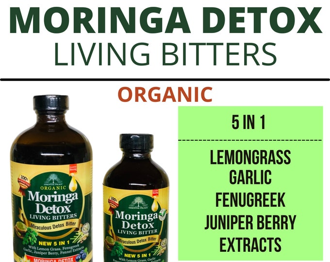 Moringa Detox living Bitters Organic  Gluten-Free Unfiltered Vegan Non-GMO Unrefined 16 oz. by Essential Palace
