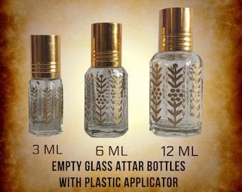 Empty Golden Printed Octagonal Design Perfume, Fragrance, Attar Bottles with Plastic Stick/applicator. 3ML, 6ML, 12ML