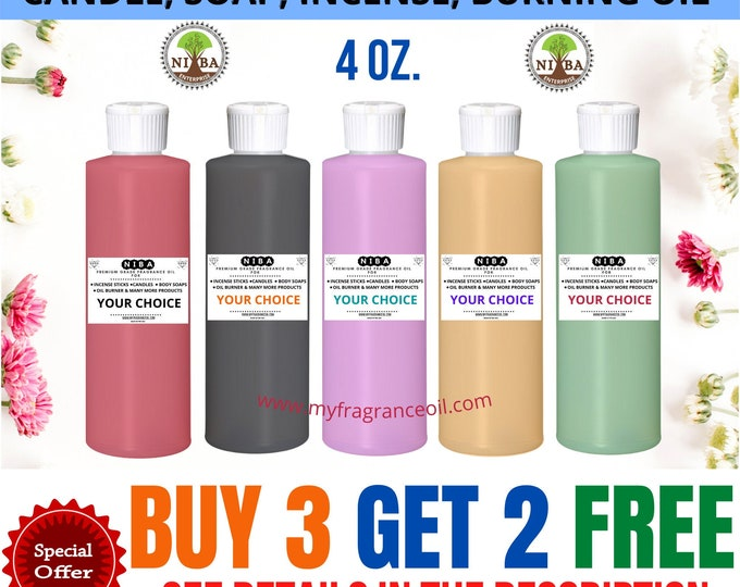 Fragrance Oil For DIY Candle, Burning Oil Incense Stick Lotions Cream Soaps, Bath Bomb Strong Perfumed Scented Oil 4 oz