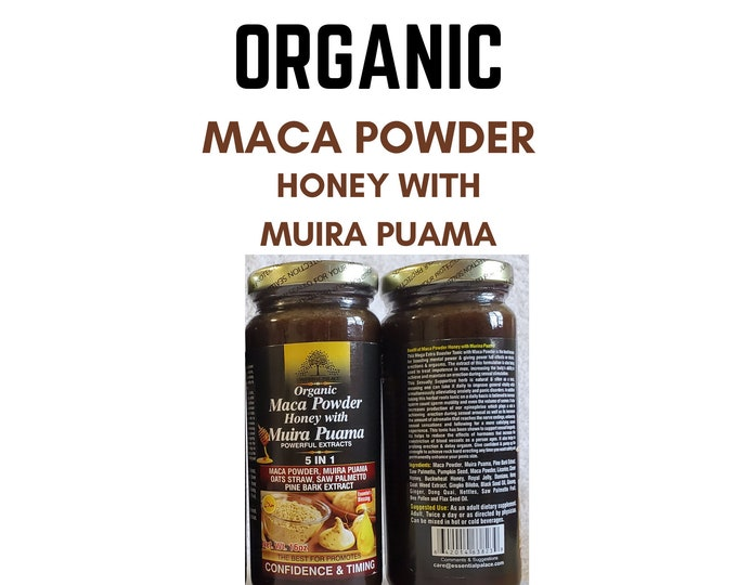 ORGANIC MACA Powder Honey With Muira Puama By Essential Palace  5 IN 1 , Mens Personal Care