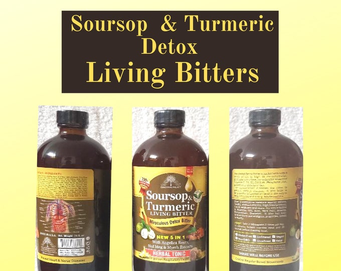 Soursop & Turmeric Detox Living Bitters, Herbal Tonic By Essential Palace