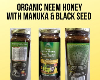 Organic Neem Honey with Manuka Black seed By Essential Palace, Flat Belly Detox, Weight Loss