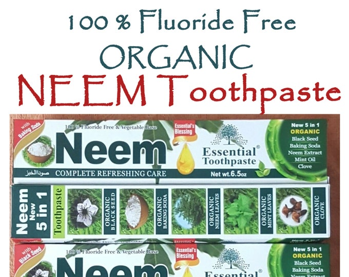 5 in 1 NEEM Toothpaste, Organic 100% Fluoride Free & Vegetable Base