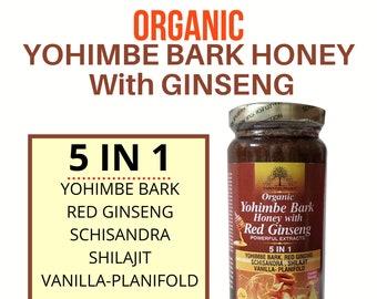 Organic Yohimbe Bark with Honey- Improve Testosterone & Sexual Pleasure.  5 IN 1 16 oz.