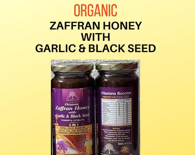 Organic ZAFFRAN(Saffron) HONEY With GARLIC & Black Seed By Essential Palace 5 In 1, 16 oz