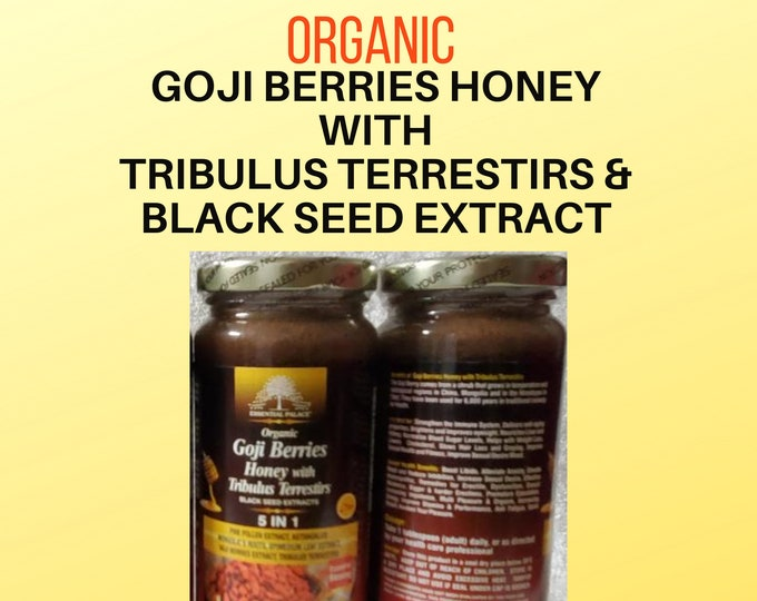 Organic GOJI BERRIES Honey With TRIBULUS Terrestris By Essential Palace 16 oz .