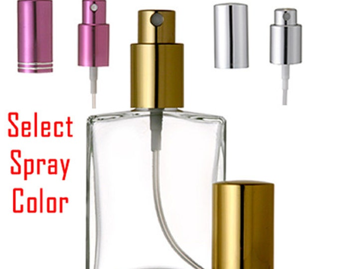 New Refillable Perfume Spray Empty Glass Bottle Atomizer Flat/Rectangular Bottle 1 oz. , 2 oz. or 3.4 oz.