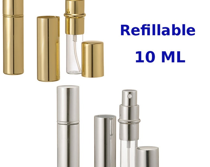 New Refillable Perfume Spray, Atomizer, Travel Size Empty Glass Bottle/ External Metal 10 ML