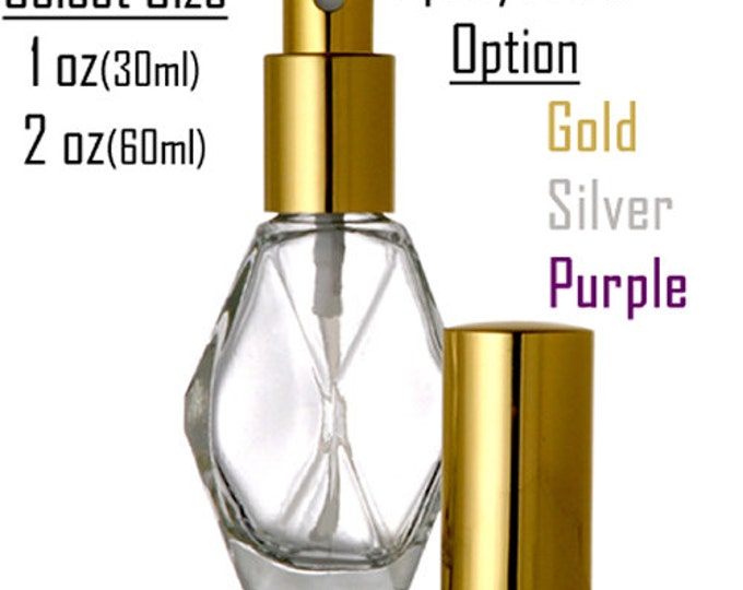 New Refillable Perfume Spray Atomizer Empty Glass Bottle  Diamond Shaped Bottle 1 oz, or 2 oz.
