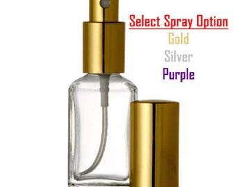 New Refillable Perfume Spray Atomizer Empty Glass Bottle  Squar Shaped Bottle 1 oz