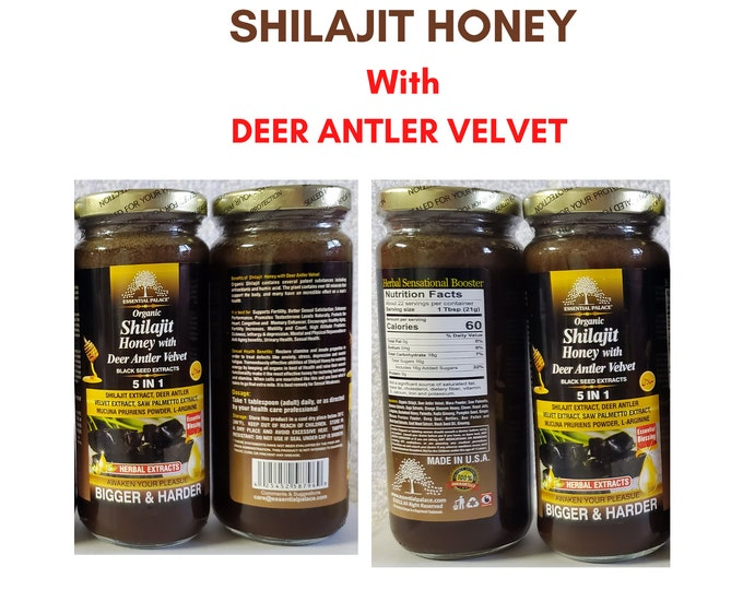 Organic SHILAJIT Honey With DEER Antler Velvet, Black Seed Extracts By Essential Palace 5 in 1.