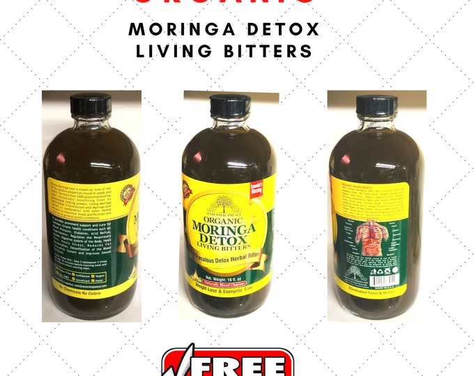Organic Moringa Detox living Bitters, Gluten-Free, Unfiltered, Vegan, Non-GMO, Unrefined, 16 oz. by Essential Palace
