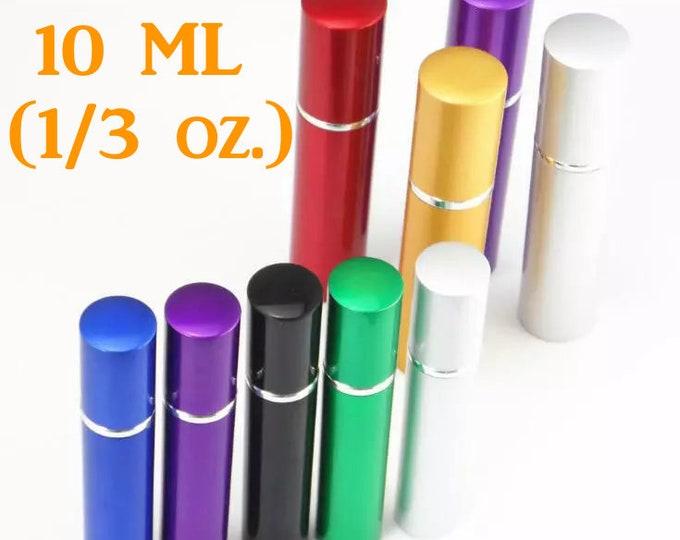 10 ML, New Refillable Perfume Spray, Atomizer, Travel Size Empty Glass Bottle/ External Metal