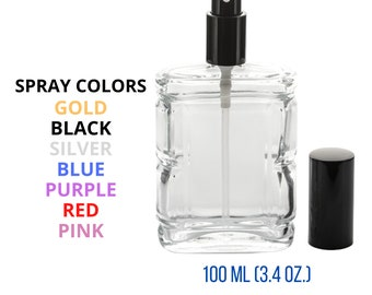 New Refillable Perfume Spray Empty Glass Bottle Atomizer Flat/Rectangular Bottle 3.4 oz.(100 ML)