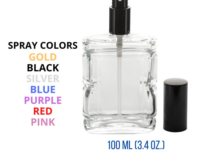 New Refillable Perfume Spray Empty Glass Bottle Atomizer Flat/Rectangular Bottle 3.4 oz.(100 ML)