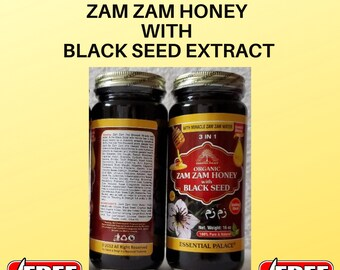 ORGANIC ZAM ZAM Honey With Black Seed By Essential Palace ,Healing Booster 16 oz