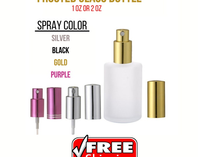 1 oz.(30ML) or 2 oz. (60ML) New Refillable Perfume Frosted Cylinder Glass Bottle with Fine Mist Spray Pumps