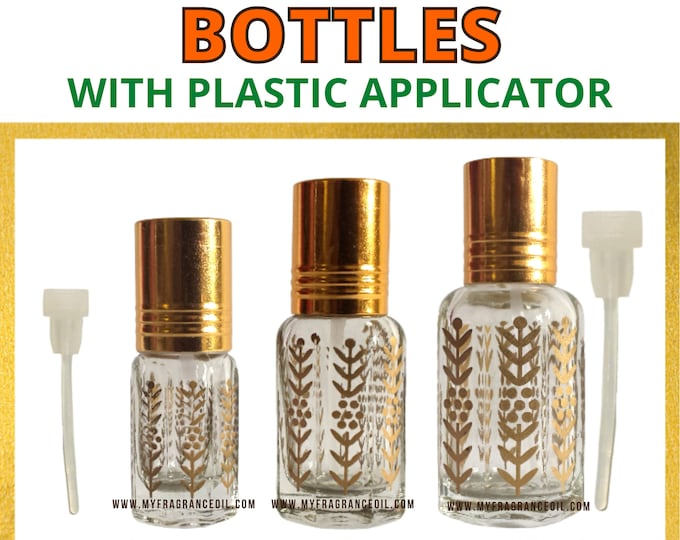Empty Golden Printed Octagonal Design Perfume, Fragrance, Attar Bottles with Plastic Stick/applicator. 3ML, 6ML, 12ML