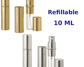 New Refillable Perfume Spray, Atomizer, Travel Size Empty Glass Bottle/ External Metal 10 ML