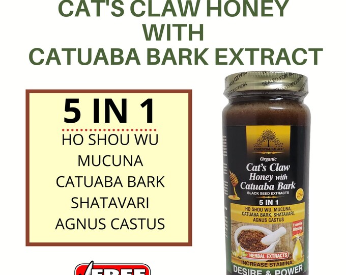 Cat's Claw Honey With Catuaba Bark By Essential Palace, Organic 5 In 1 Sexual Booster.