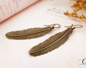 Antique Brass Feather Earrings, Leaf Earrings, Rustic Earrings Bohemian Earrings Boho Earrings Bridesmaid Gift Christmas Gift Nature Jewelry