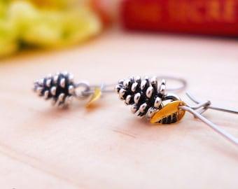 Hypoallergenic Earrings, Silver Pinecone Earrings, Silver Pine Cone Jewelry, Silver Nature Earrings Silver Woodland Earrings Natural Jewelry
