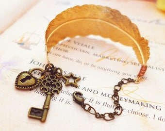 Skeleton Key Bracelet, Key To My Heart Bracelet, Vintage Feather Bracelet Lock And Key Jewelry Friendship Bracelet Girlfriend Birthday Gift