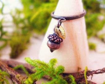 Acorn Ring, Leaf Ring, Nature Ring, Nature inspired Jewelry, Boho Ring, Bohemian Ring, Forest Ring, Woodland Ring, Rustic Ring Elven Jewelry