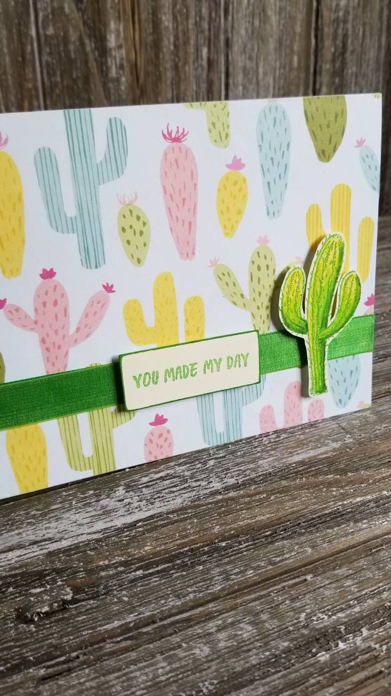 thinking of you card thank you card cactus card Any occasion cactus blank card card for friend- handmade blank card
