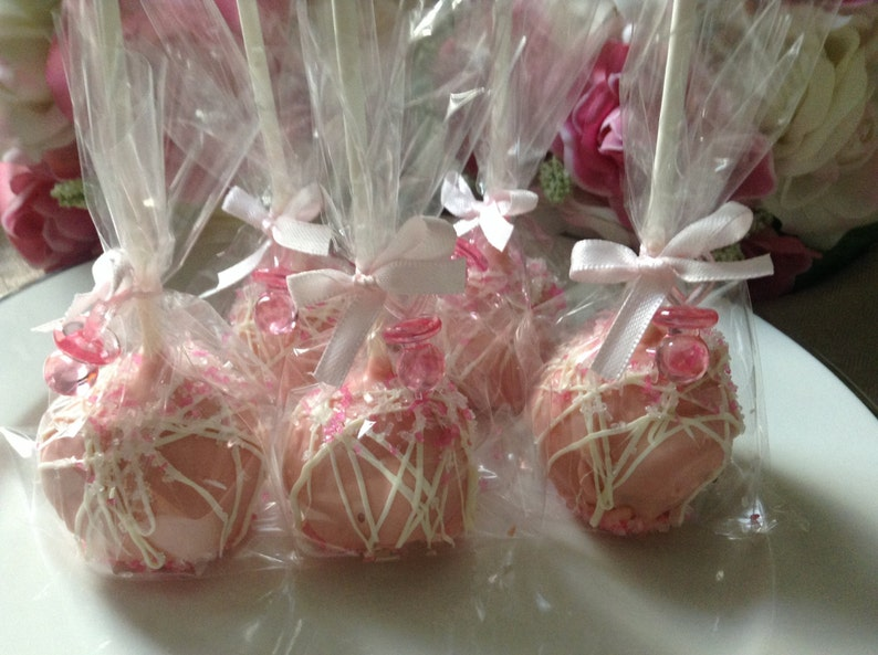 Pink Cake Pops Pink Wedding Cake Pops Pink Party Favors First Etsy
