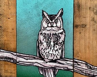 "Owl 2""x2"" Magnet - wildlife woods"