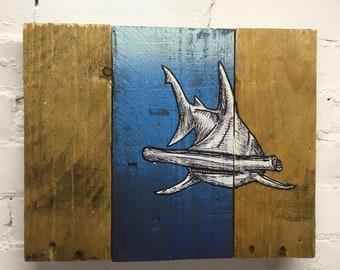 Ya Hammahhead- wildlife shark   recycled pallet wood animal art creighton studios