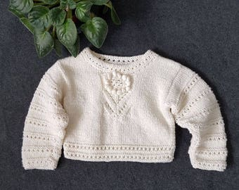 Sweater, baby girl,ivory, handmade, merino wool, long sleeve,flower motif